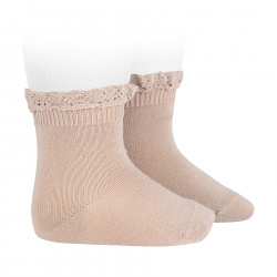 Short socks with lace edging cuff STONE