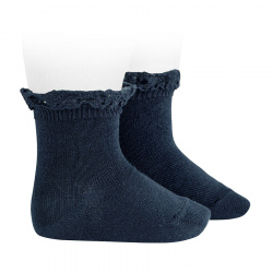 Short socks with lace edging cuff NAVY BLUE