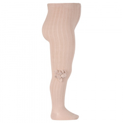 Rib tights with wool flower application STONE