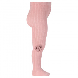 Rib tights with wool flower application PALE PINK