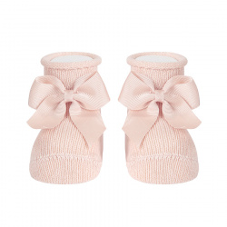Baby warm cotton booties with grossgrainbow NUDE
