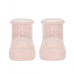 Baby warm cotton booties with front openwork NUDE