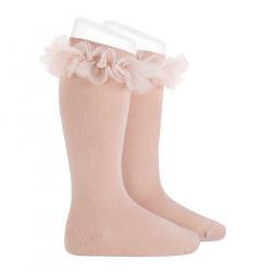 Chaussettes hautes avec tulle froncé VIEUX ROSE
