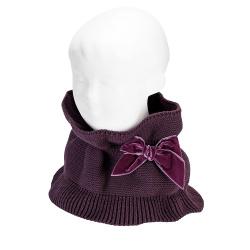 Cou tricot plissé noeud velours BORDEAUX