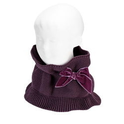 Garter stitch snood scarf with big velvet bow BURDEAUX