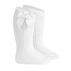 Side openwork warm cotton knee socks with bow WHITE