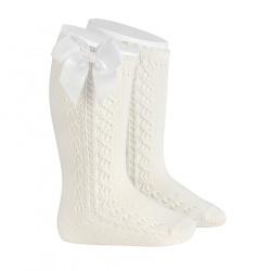 Side openwork warm cotton knee socks with bow CREAM