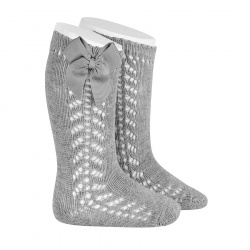 Side openwork warm cotton knee socks with bow ALUMINIUM