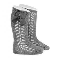 Side openwork warm cotton knee socks with bow LIGHT GREY