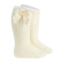 Side openwork warm cotton knee socks with bow BEIGE