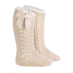 Side openwork warm cotton knee socks with bow LINEN