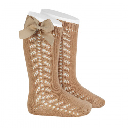 Side openwork warm cotton knee socks with bow CAMEL