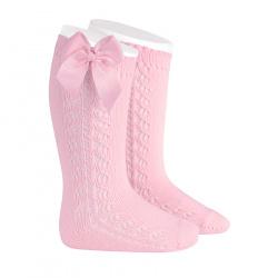 Chaussettes hautes chaudes ajourées avecnoeud ROSE