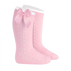Side openwork warm cotton knee socks with bow PINK