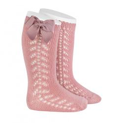Chaussettes hautes chaudes ajourées avecnoeud PALE ROSE
