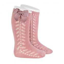 Side openwork warm cotton knee socks with bow PALE PINK