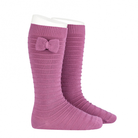 Knee-high socks with knitted bow CASSIS
