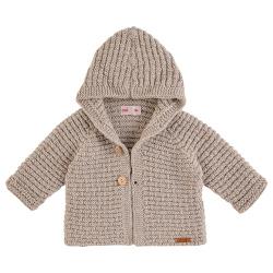 Chaqueta con capucha de lana merino mezcla BEIGE