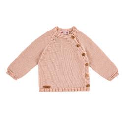 Pull boutonné devant en laine merinos mélangée NUDE