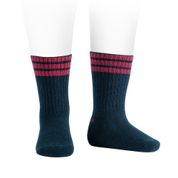 Sport knee socks with three stripes, terry sole NAVY BLUE