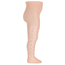 Merino wool-blend tights with openwork hearts NUDE