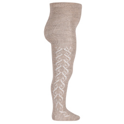 Merino wool-blend tights with openwork hearts OATMEAL