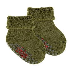 Merino wool-lblend terry non-slip socks MOSS