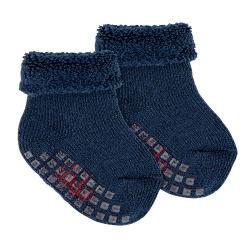 Merino wool-lblend terry non-slip socks NAVY BLUE