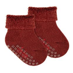Chaussettes antidérapantes tissu épongeen laine GRENAT