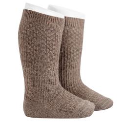 Calze lunghe misto lana con ricami in rilievo TRONCO