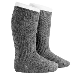 Calze lunghe misto lana con ricami in rilievo GRIGIO CHIARO