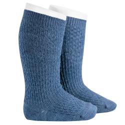 Chaussettes hautes avec relief en lainemerino JEANS
