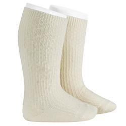 Chaussettes hautes avec relief en lainemerino ECRU