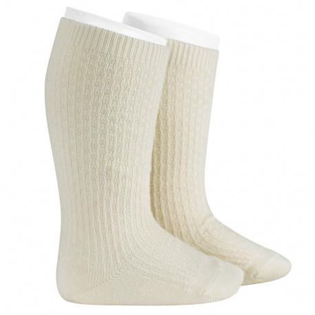 Merino wool-blend patterned knee socks BEIGE