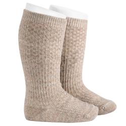 Calze lunghe misto lana con ricami in rilievo BEIGE