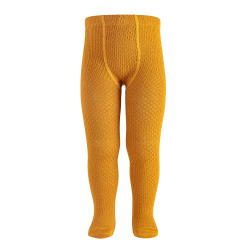 Merino wool-blend patterned tights CURRY