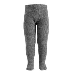 Collants avec relief en laine merino GRIS CLAIR