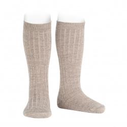 Chaussettes hautes côtelées en laine BEIGE