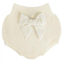 Garter stitch culotte with velvet bow BEIGE