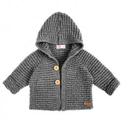 Chaqueta con capucha de lana merino mezcla GRIS CLARO