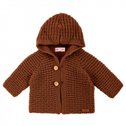 Chaqueta con capucha de lana merino mezcla CHOCOLATE