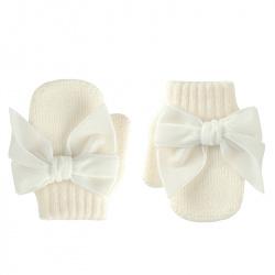 One-finger mittens with velvet bow BEIGE