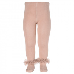 Tulle ruffle tights OLD ROSE