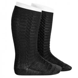 Braided knee socks BLACK