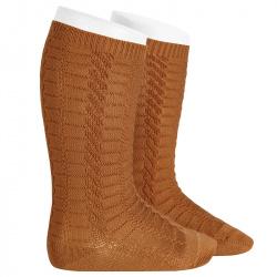 Braided knee socks CINNAMON