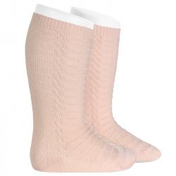 Braided knee socks NUDE
