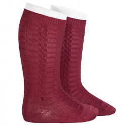 Braided knee socks GARNET
