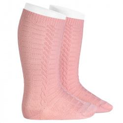 Braided knee socks PALE PINK