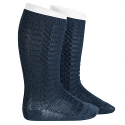 Braided knee socks NAVY BLUE