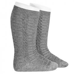 Braided knee socks LIGHT GREY